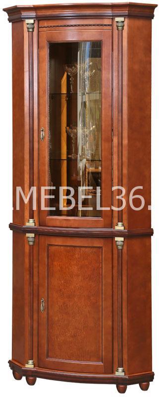Шкаф с витриной Валенсия 1уз П-244.13 (зеркало)   Белорусская мебель в Воронеже