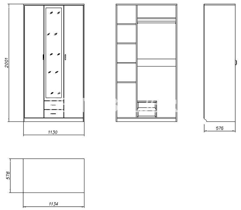 Шкаф комбинированный Милый Бэби П-206.01-1 | Белорусская мебель в Воронеже