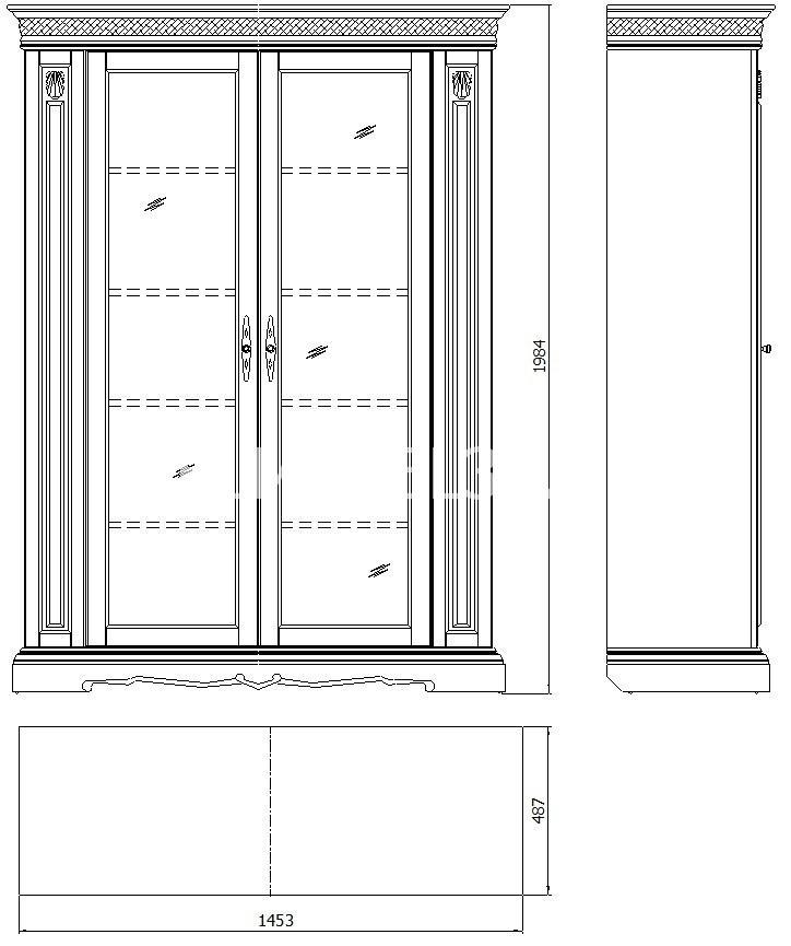 Шкаф с витриной Милана 5/1 П-396.04   Белорусская мебель в Воронеже